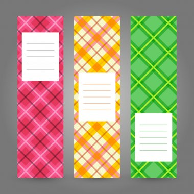Set of Vertical Plaid Banners. Abstract Geometric ornament. Vector backgrounds.