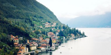 Small town of Varenna at Lake Como - vintage effect.