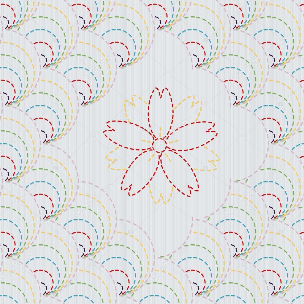 Traditionelle japanische Stickerei-Ornament mit Sakura Blüten ...