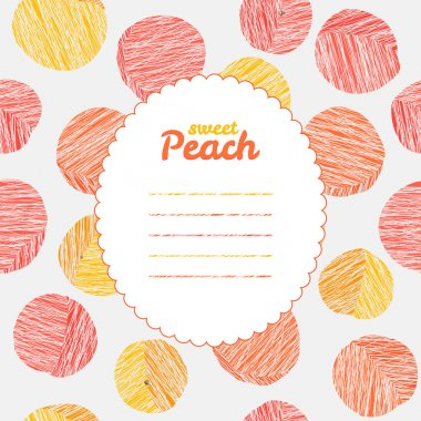 Endless peach texture, repeating fruit background. Text frame.