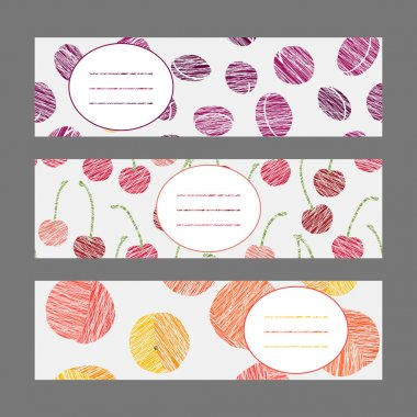 Set of Horizontal Fruit Banners. Healthy lifestyle Cards Series.