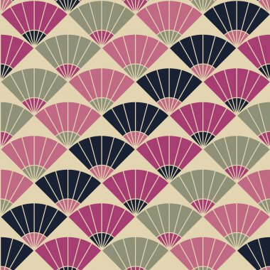Abstract fan pattern. Based on Traditional Japanese Embroidery.