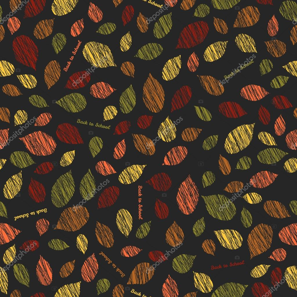 'Back to school'. Autumn texture with scraped leaves. Seamless p