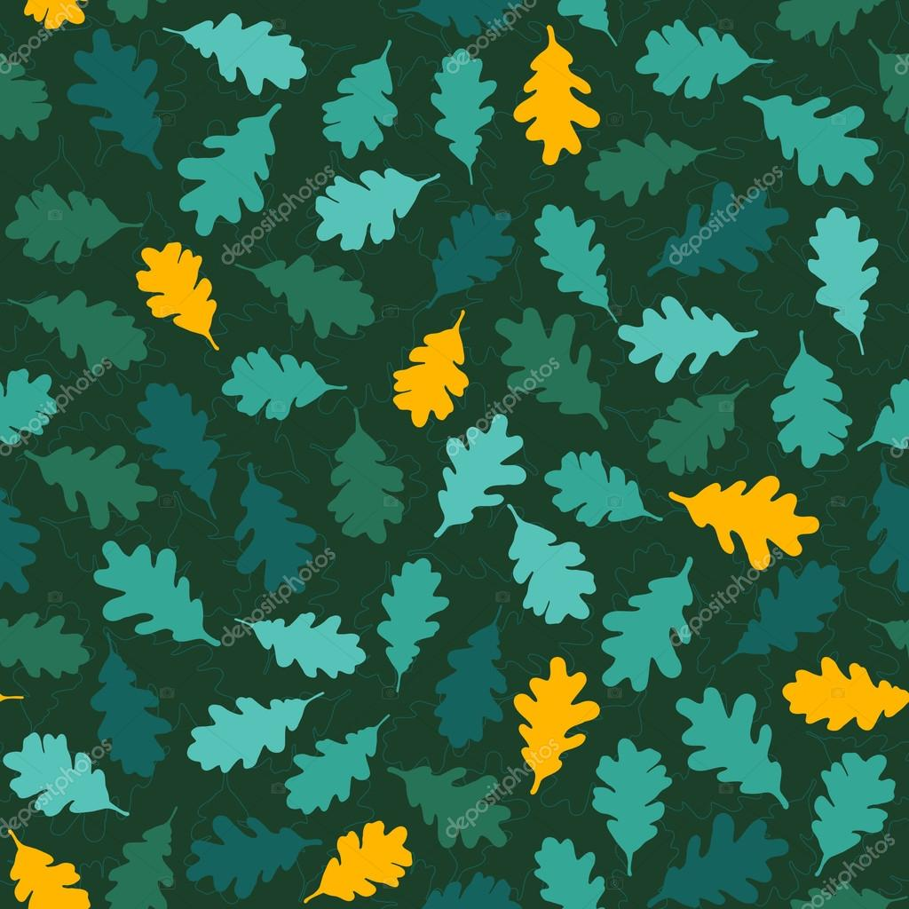 Seamless pattern with green oak leaves. Fall backdrop. 'Autumn s