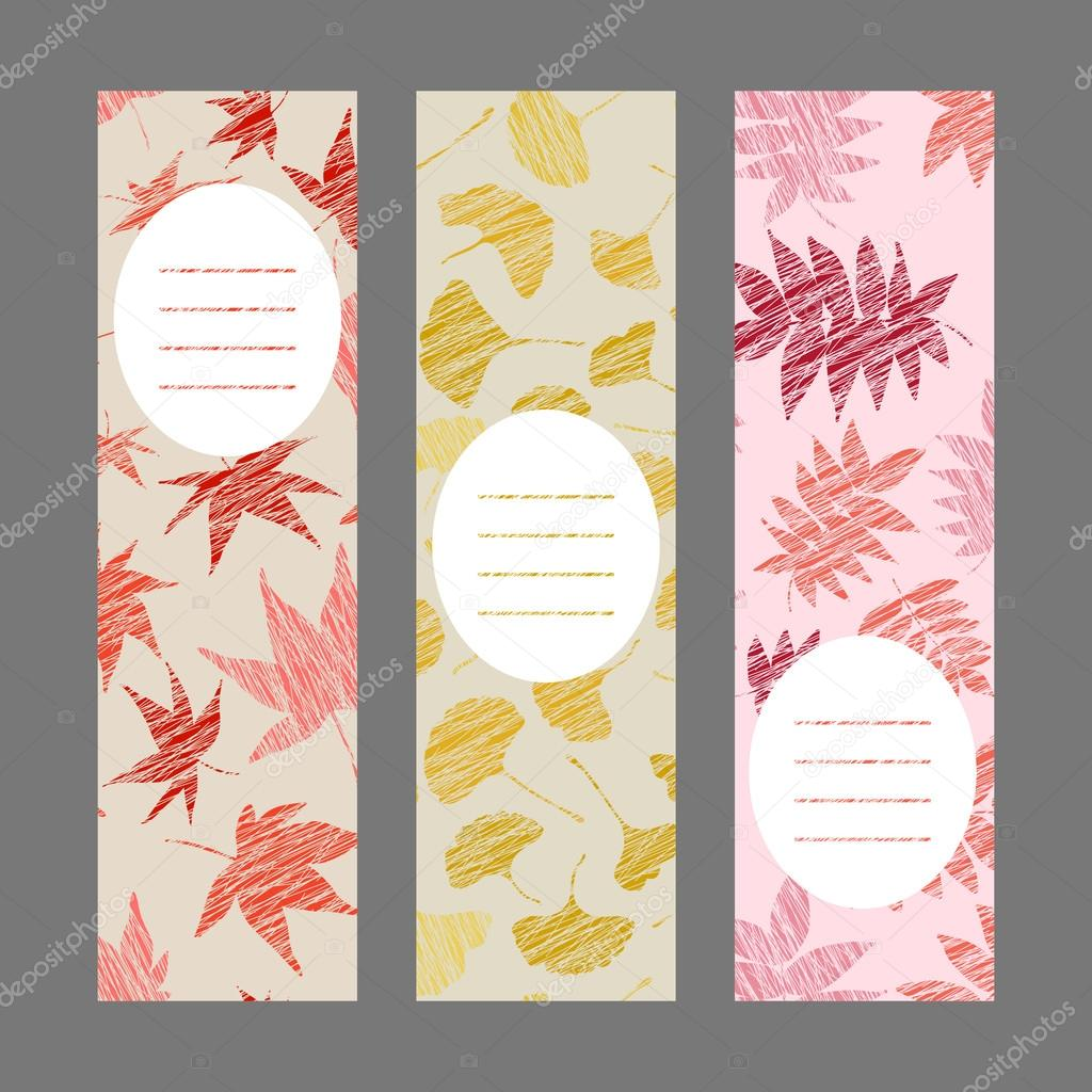 Set of vertical autumn banners. Harvest berry ornament. Vector Illustration.