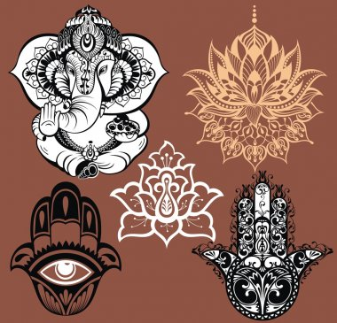 Ornamental elephant and mandalas