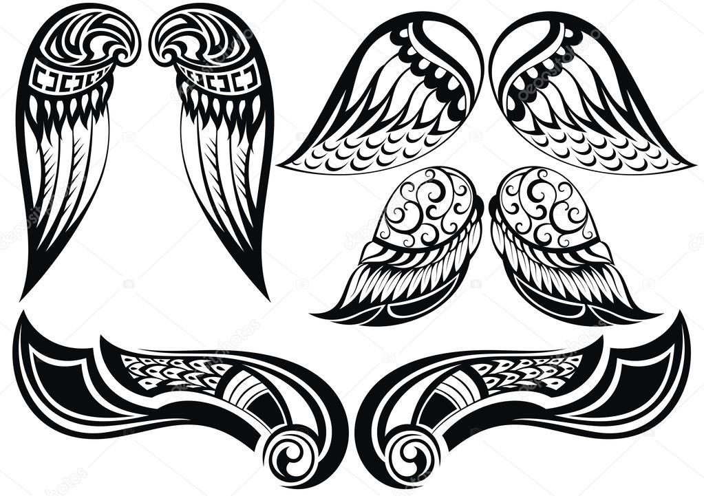 Skrzydła Anioła Dobry Zestaw Różnych Tatuaż Skrzydła Grafika