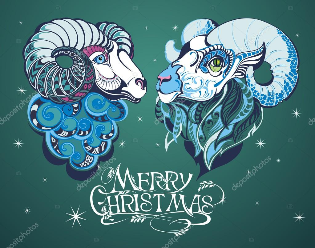 sheepgoat happy new year 2015 stock vector