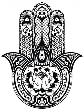 Vector Indian hand drawn hamsa symbol