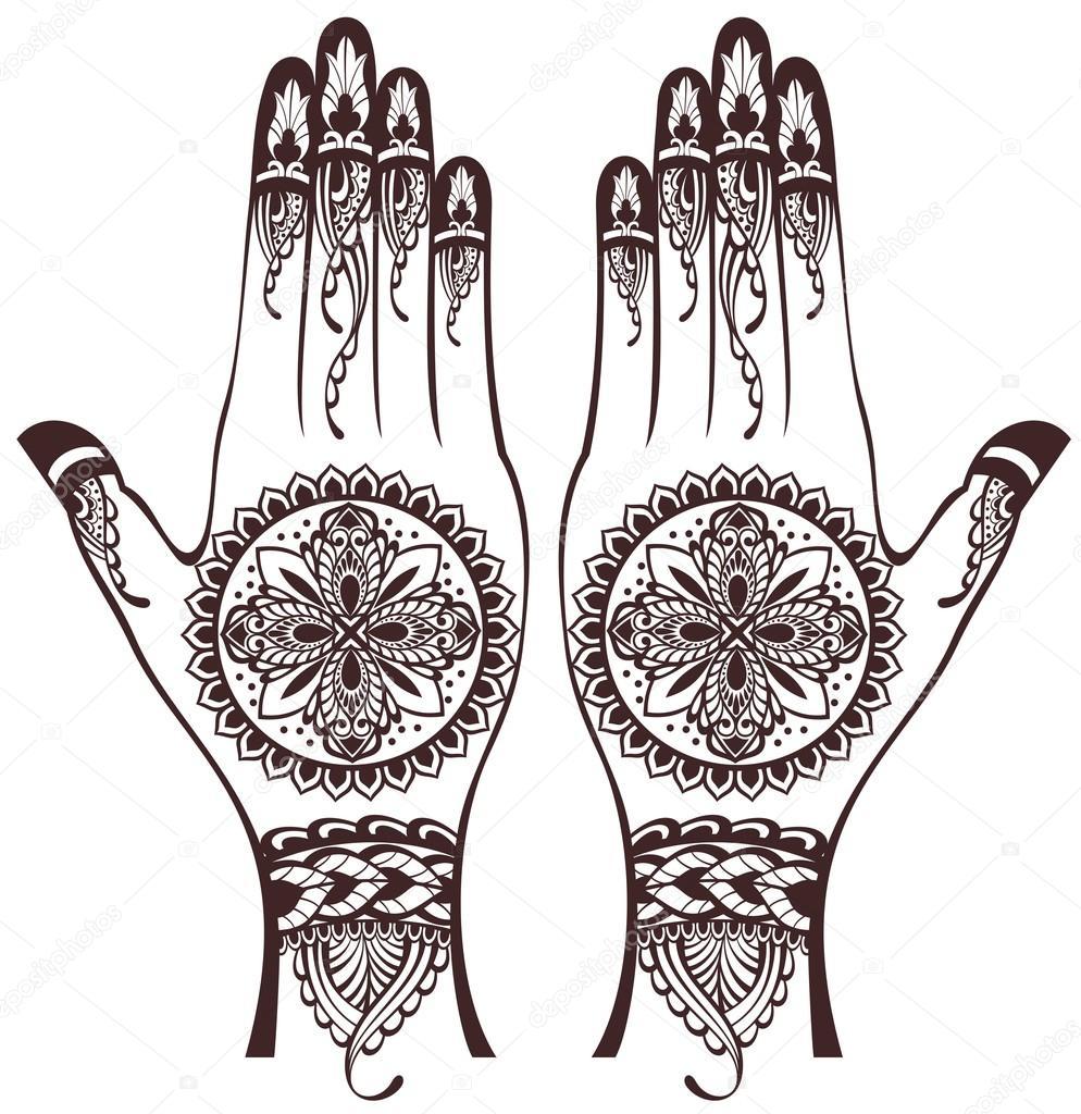 vector illustration of hands with henna tattoos stock vector rh depositphotos com Adult Coloring Vector Henna Tattoo