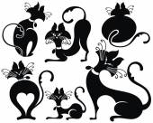 Černá kočička karikatura