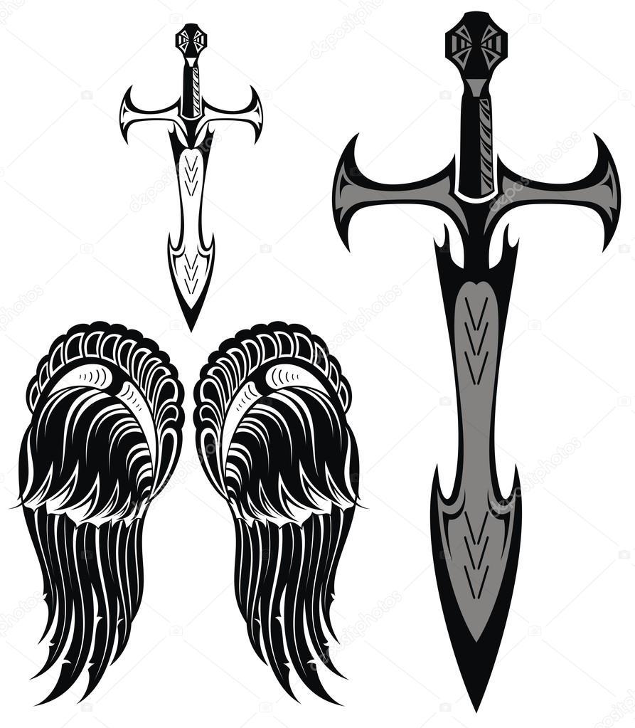 Tatuajes De Espadas Medievales Set De Alas Y Espadas Vector De