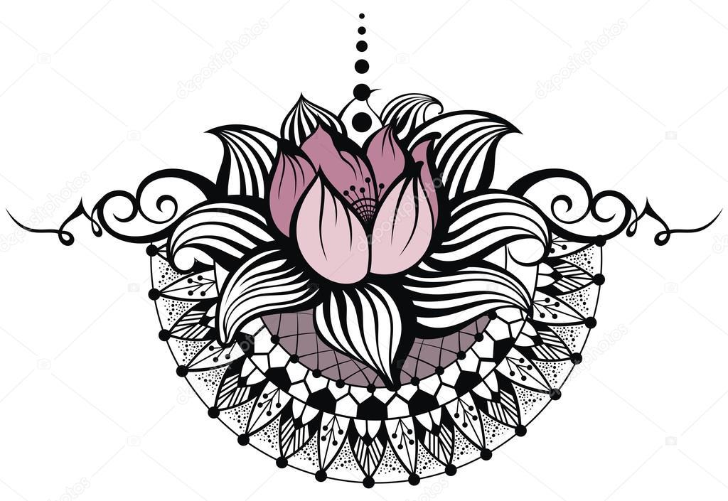 Diseño De La Flor De Loto Archivo Imágenes Vectoriales