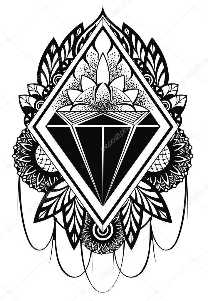 Line Art Picsart : Diamond vektor tetování — stock ksyshakiss