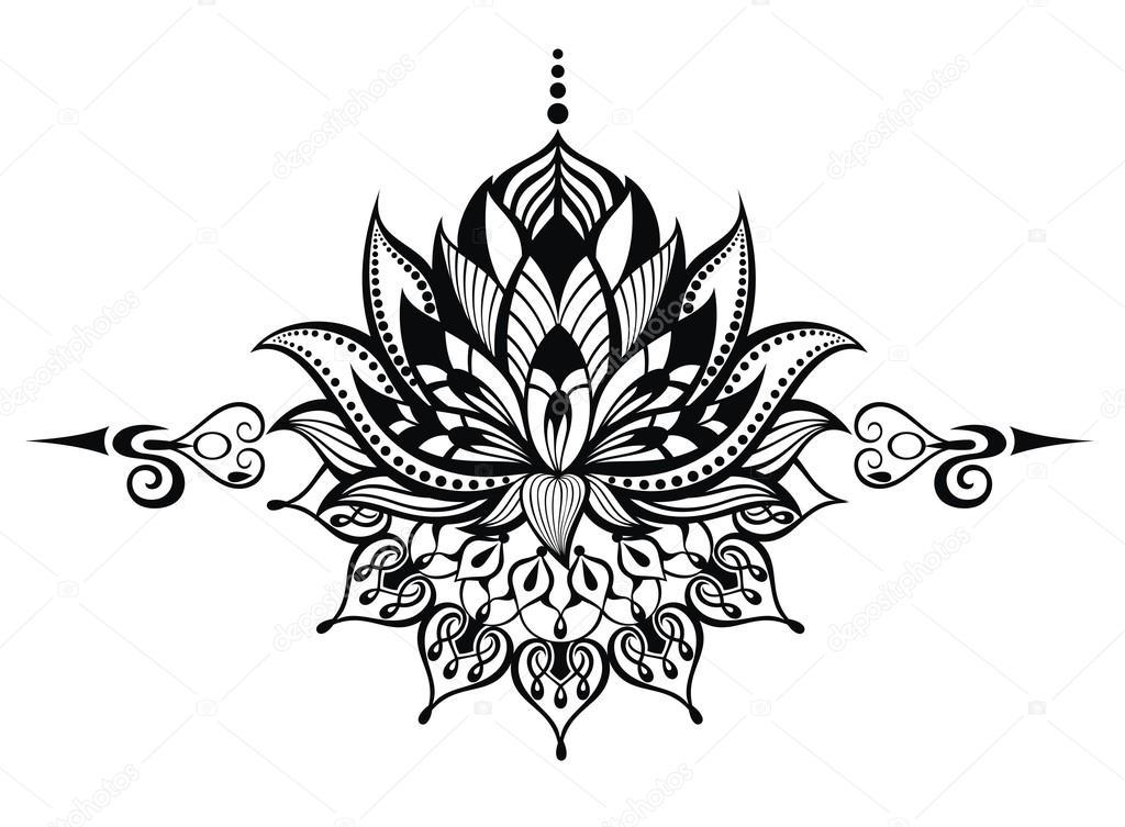 Vector Flor De Loto Tatuaje Flor De Loto Tatuaje Vector De