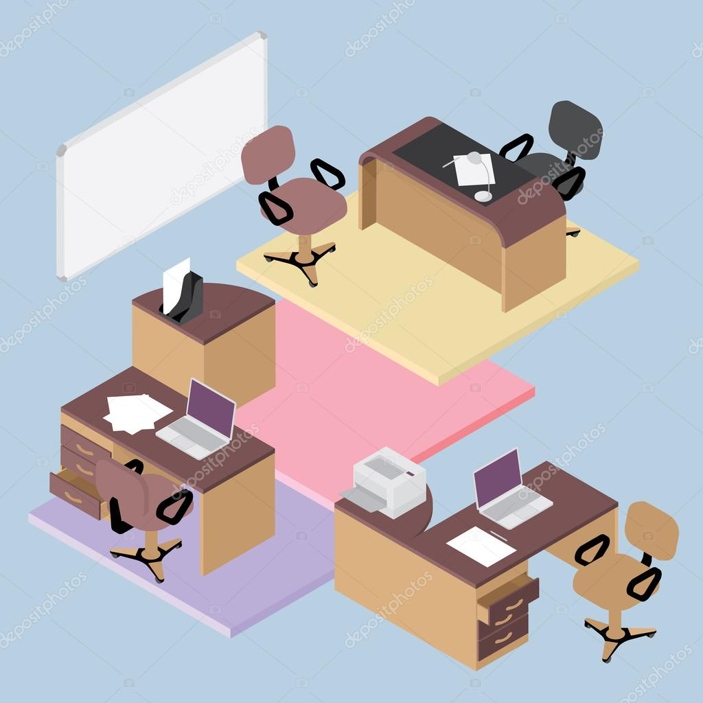 isometric office furniture vector collection. Collection Of Office Furniture, Flat Isometric Room Interior Businessmen Concept Vector Set \u2014 Stock Furniture N