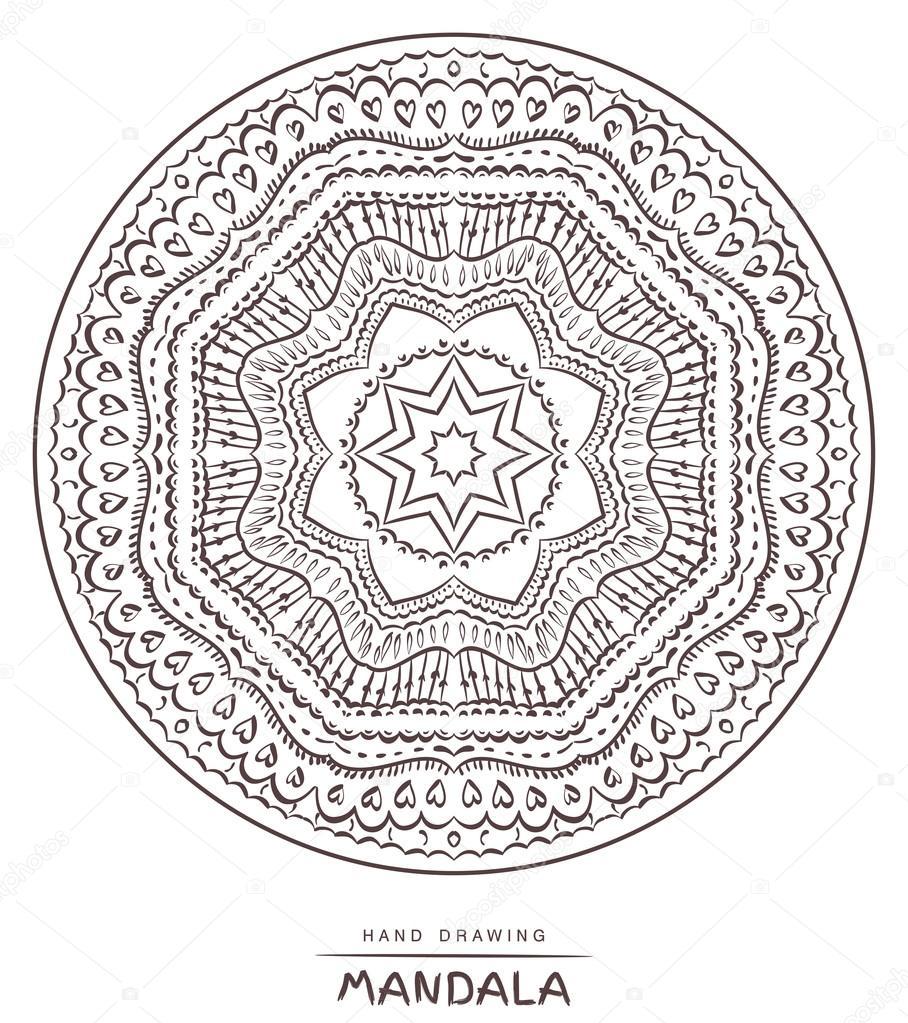 Mandala Boyama Vektör Güzel Deco Mandala Etnik Dekor Stok Vektör