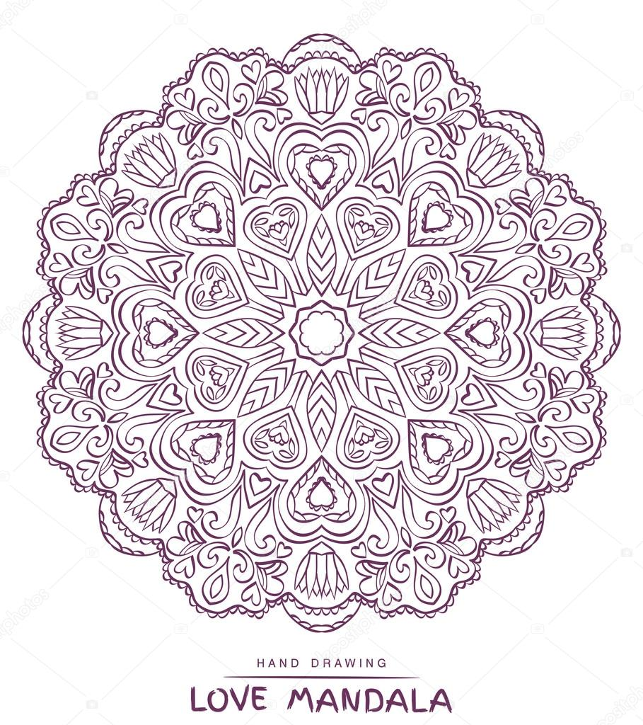 Mandala para colorear con elementos decorativos de San Valentín de ...