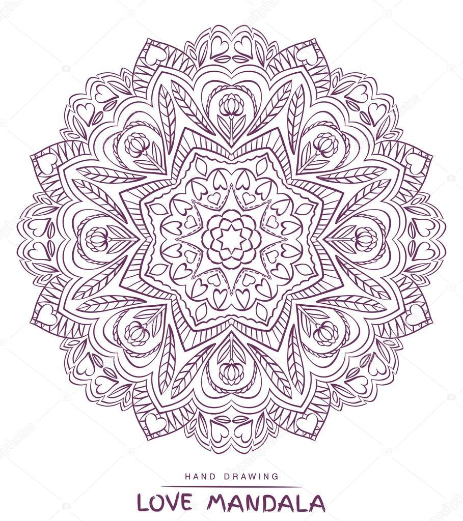 Vektor-Mandala zum Ausmalen mit dekorativen Elementen valentines ...