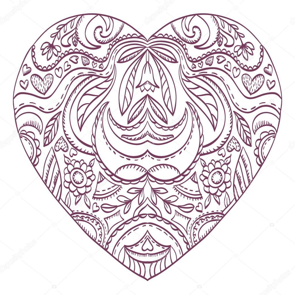 Vektor-Herzen zum Ausmalen mit dekorativen Elementen valentines ...