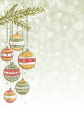 christmas background with christmas balls, vector