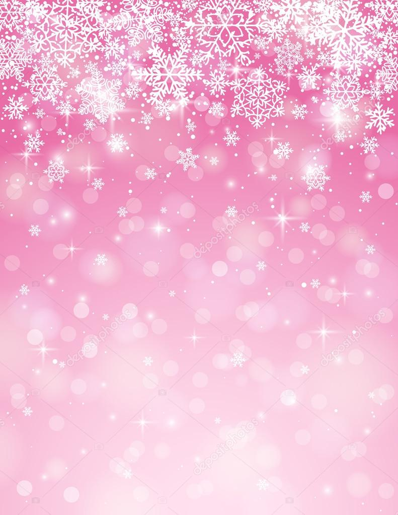 pink background with snowflakes vector � stock vector