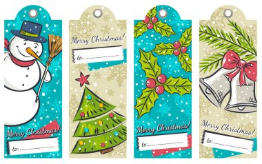 Vintage christmas labels with snowman, tree, bells and holly, ve