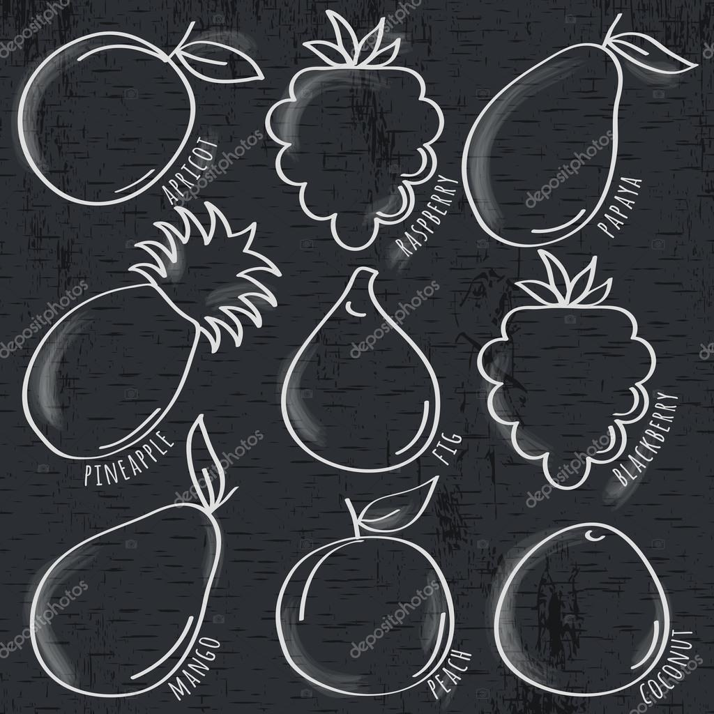 set of organic  fruit  on  blackboard, vector