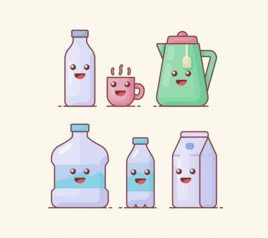 Drink beverage icon set collection package with kawai emoticon face cute fun happy white isolated background with flat color outline style vector illustration icon