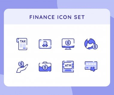 Finance icon icons set collection collections package tax certificate earth briefcase atm machine white isolated background with outline style vector design illustration icon