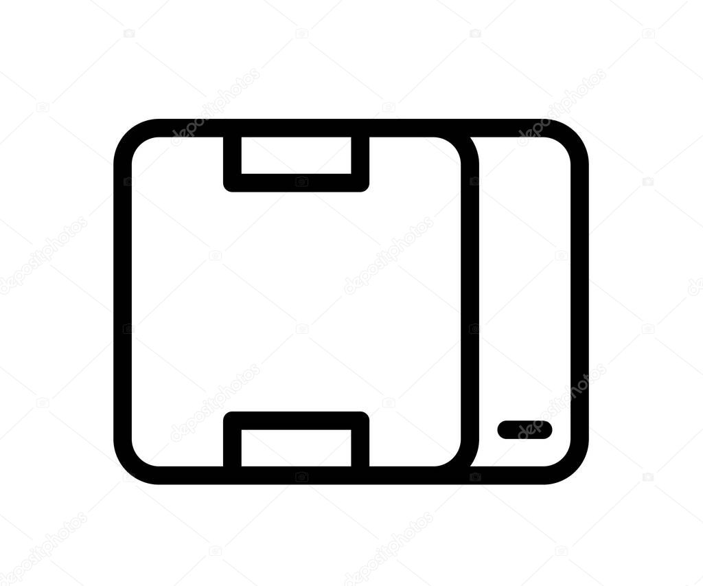 Product package box single isolated icon with outline line style vector design illustration icon