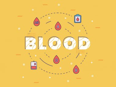 Blood typography around medical icon with outline style vector design illustration icon