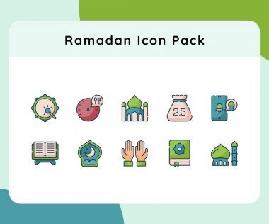 Ramadan icon pack set collection with flat dash or dashed style vector illustration icon