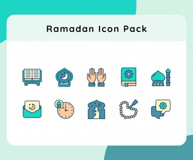 Ramadan icon pack set collection with filled line style vector illustration icon
