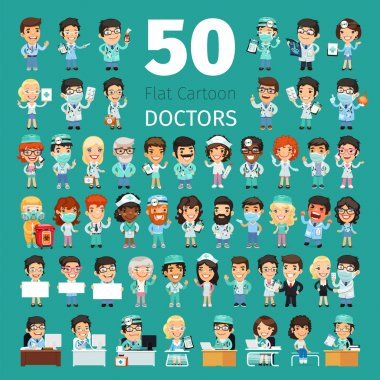 Big set of 50 doctors and other hospital workers. Clipping paths included. clip art vector