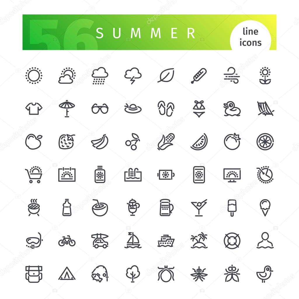 Summer Line Icons Set