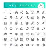 Zdravotní péče Line ikony Set