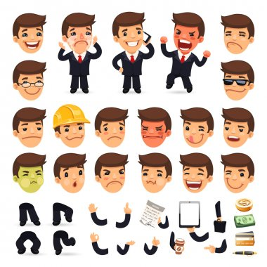 Set of Cartoon Businessman Character for Your Design or Aanimation. Isolated on White Background. Clipping paths included in additional jpg format stock vector