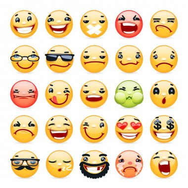 Cartoon Facial Expression Smile Icons Set