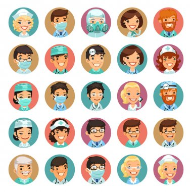 Doctors Cartoon Characters Icons Set3