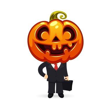 Businessman With Pumpkin on a Head
