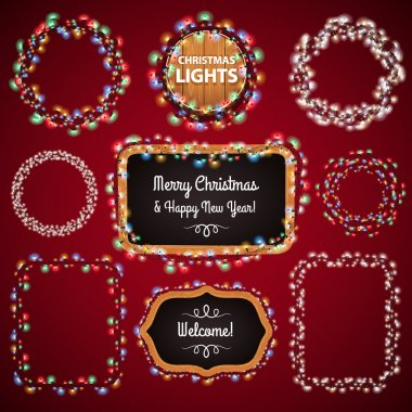 Christmas Lights Frames with a Copy Space Set4