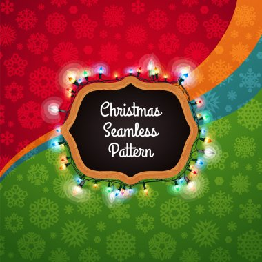 Christmas Seamless Pattern with a Chalkboard Decorated with Ligh
