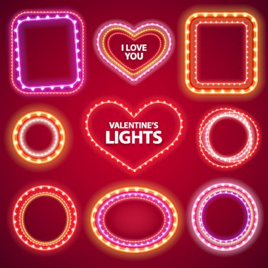 Valentines Neon Lights Frames with a Copy Space Set2