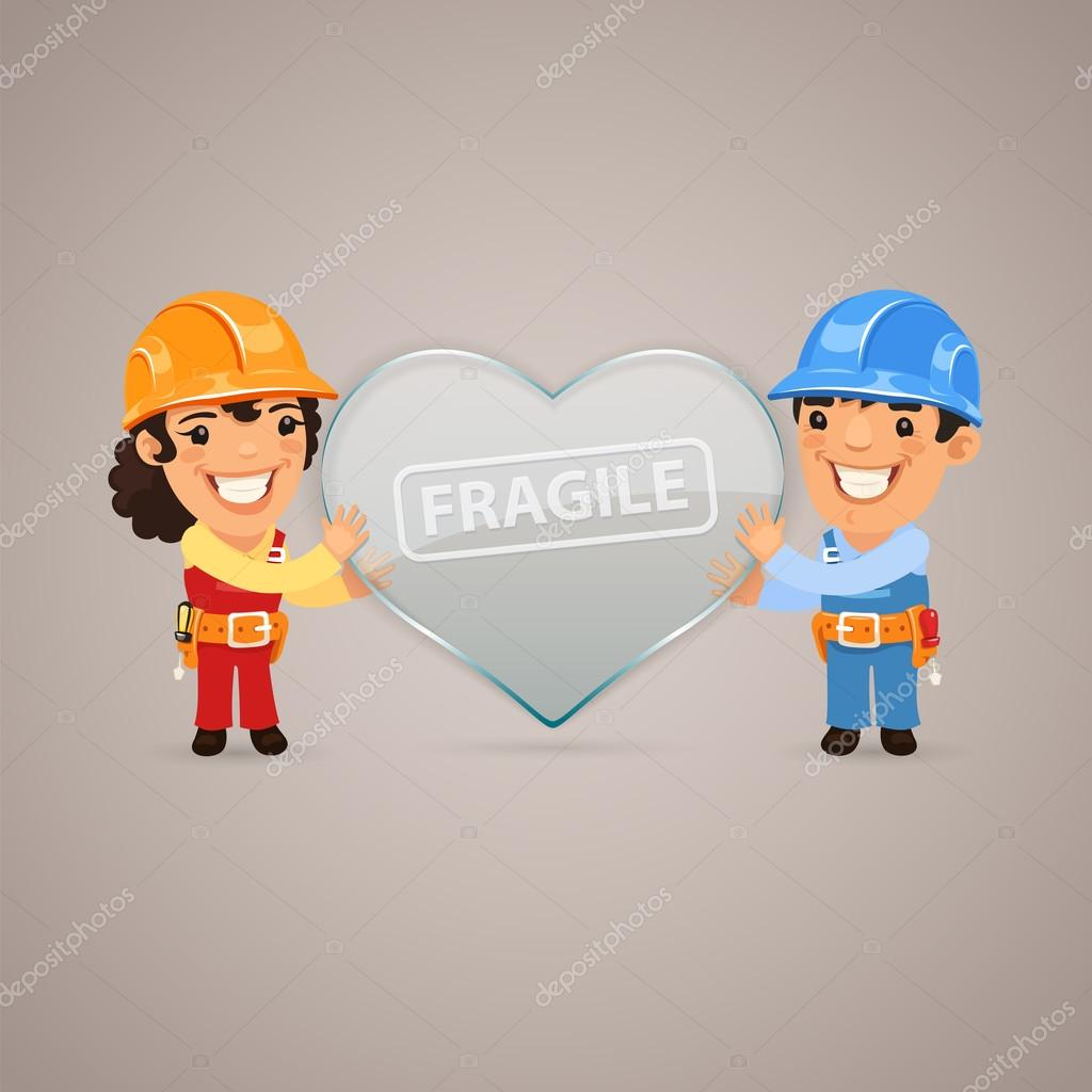Valentines Day Poster with Couple Workers