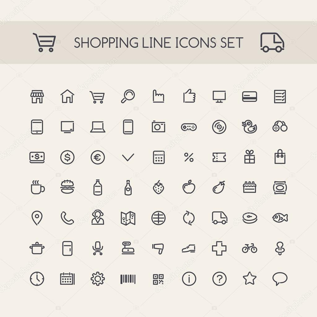 Shopping Line Icons Set Black