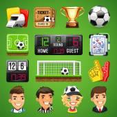Fényképek Reális vektoros ikonok beállítása a téma, az foci