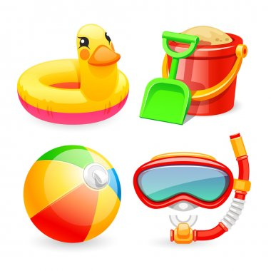 Colorful Beach Toys Icons Set