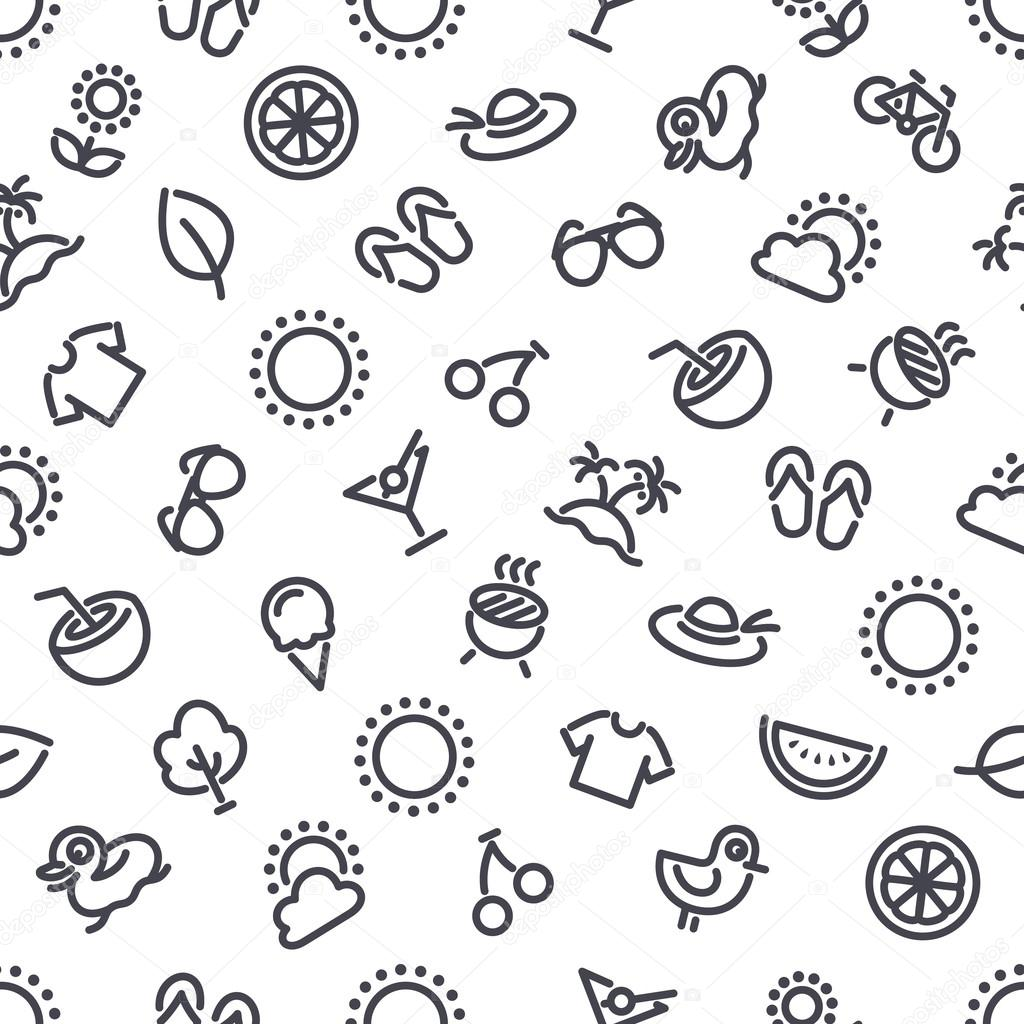 Summer and Vacation Seamless Pattern