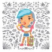 Fényképek Rajzfilm aranyos tetoválás lány gördeszka